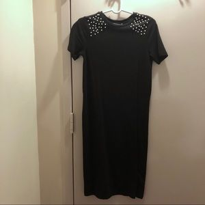 NWT Zara Pearl Accent Cotton Midi Dress S